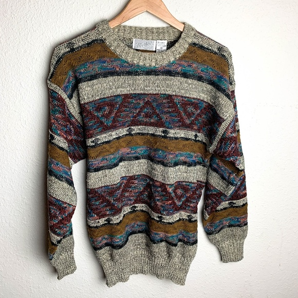 VTG Mens Coogi Style Cosby Ugly knit Sweater Korea